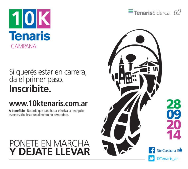 10K Tenaris, el 28 de Septiembre en Campana