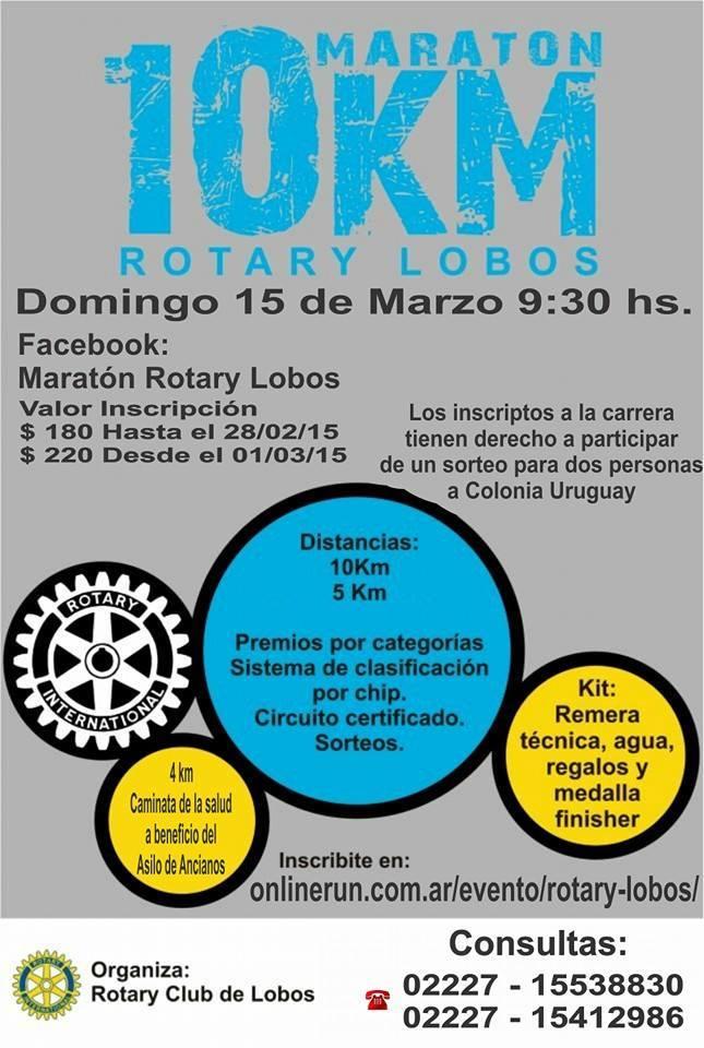 Maratón 10K Rotary Lobos, el 15 de Marzo