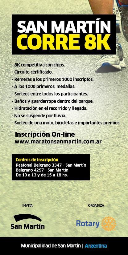 San Martín Corre 8K, el 7 de Junio-2