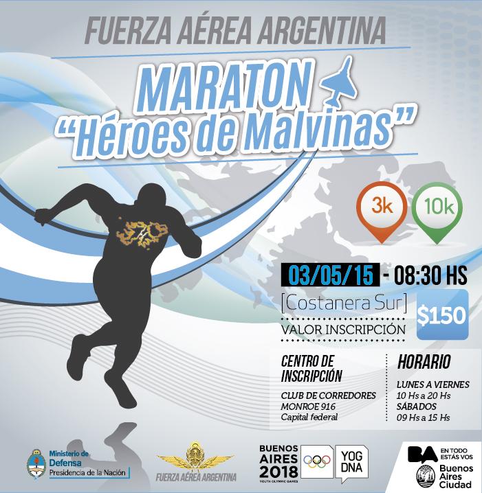 Maratón Héroes de Malvinas, el 3 de Mayo